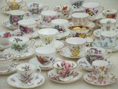 vintage English bone china tea cup & saucer collection