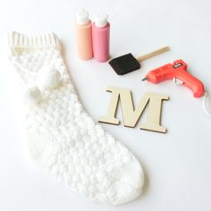 DIY Stocking Letter Materials | CraftCuts.com Painting Wooden Letters, Painted Letters, Painting On Wood, Diy Stockings, Christmas Stockings, Wood Initials, Christmas Mantels, How To Make Diy, Wreaths For Front Door