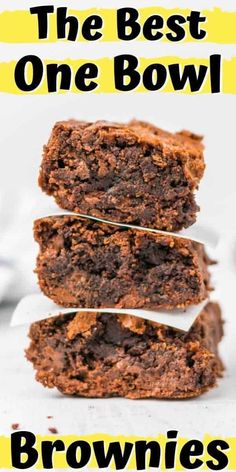 These easy, one bowl brownies are rich and fudgy. They're loaded with chocolate chips to give every bite a decadent, melt-in-your-mouth taste. Homemade Desserts, Great Desserts, Delicious Desserts, Dessert Recipes, Homemade Brownies, Yummy Food, Salad Recipes, Dinner Recipes, One Bowl Brownies