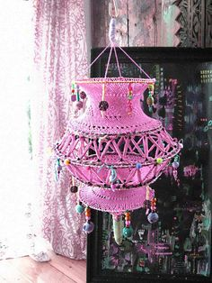 Hey, I found this really awesome Etsy listing at https://www.etsy.com/listing/168324938/pink-lantern-hand-crocheted-upcycled