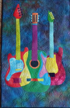 Guitar Quilt by Kristi at Crescent Island. Based on the 'Groovy Guitars' pattern by Robbi Eklow