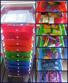 I like this organization!! Esp for teaching at home, roll it out when you need it, and roll it away so the kids don't mix school activities with their toys.