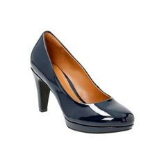 18bcb260faf3 Clarks Womens Brier Dolly In Navy Patent ( 95) ❤ liked on Polyvore  featuring shoes