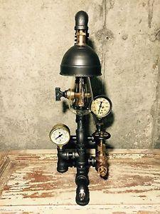 Steampunk Industrial Lamp Vintage 1906 Brass Pressure Gauge Glass Insulator | eBay