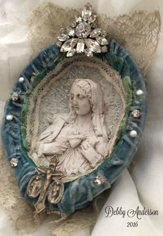 """""""No Greater Love"""" by Debby Anderson 2016 Reproduction Meerschaum graced within layers of velvet vintage gems, sterling cross. ~ One of a Kind <3"""