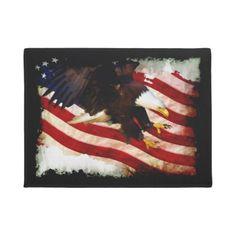 #Patriotic US Flag & Bald Eagle Doormat - #doormats #home & #living