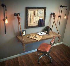 38 Attractive Industrial Bedroom Design Ideas For Unique Bedroom Style Decor Room, Diy Home Decor, Indian Room Decor, Art Decor, Pipe Lighting, Lighting Ideas, Vanity Lighting, Club Lighting, Wall Lighting