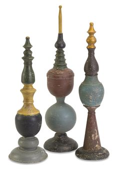 Each finial has its own color combination and come in three different sizes. Each sold separately.