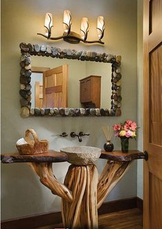 Stone mirror and sink, natural wood vanity design ideas decorating before and after interior room design design Log Home Bathrooms, Rustic Bathrooms, Wood Bathroom, Bathroom Ideas, Bathroom Furniture, Bathroom Renovations, Bathroom Interior, Lodge Bathroom, Bathroom Vanity Designs