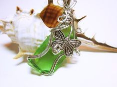 SEA GLASS Pendant Green Sea Glass Wire Wrapped Pendant Necklace Nautical Green Sea Glass Jewelry ideas For Her Intriguing Rectangular Shape Green Glass G. Sea Glass Necklace, Green Necklace, Sea Glass Jewelry, Charm Jewelry, Pendant Necklace, Necklace Charm, Wire Wrapped Pendant, Wire Wrapped Jewelry, Wire Jewelry