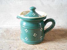 French vintage glazed pot Alsace pottery milk pot by Birdycoconut