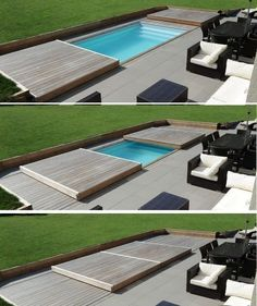 Rolling-Deck Piscine et Jacuzzi Small Swimming Pools, Small Pools, Swimming Pools Backyard, Swimming Pool Designs, Pool Decks, Pool Spa, Pool Landscaping, Small Backyards, Lap Pools