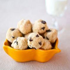 Grain-Free No Bake Chocolate Chip Peanut Butter Coconut Cookie Dough Balls! Garbanzo bean free, grain free, gluten free, low sugar & yummy!! (Bake Goods Chocolate)