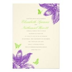 lime green and purple butterfly invites | ... Invitations ø Petals & Wings Wedding Invitation In Purple Green