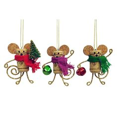 St. Nicholas Square® Wine Cork Mouse Christmas Ornaments 3-piece Set, Multicolor