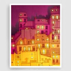 MONTMARTRE AT NIGHT - Paris Illustration - Fine Art Giclee Print signed by the artist. Available in numerous sizes. Great for decorating a home or office. Complete your Paris décor with this beautiful Parisian Art Print!