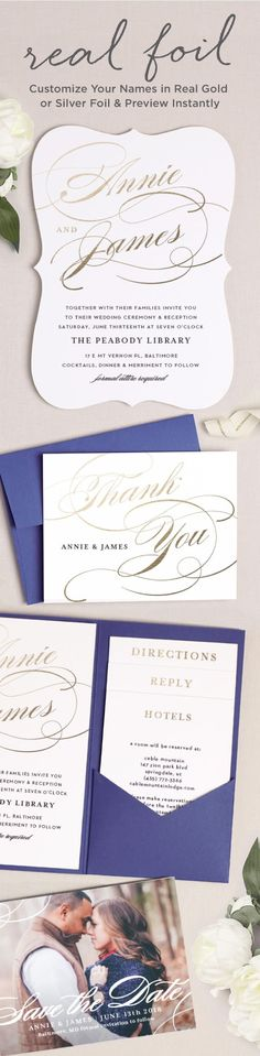 Design your perfect foil wedding invitations. Add foil to any element on the invitation including your names.