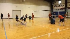 """To emphasize communication on defense, the Premierteam performs a volleyball defense drill called the """"Base to Release."""""""