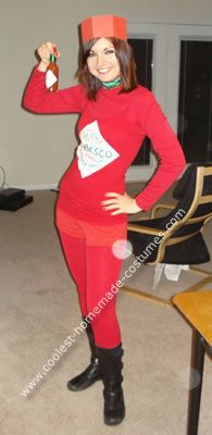 Homemade Tabasco Sauce Halloween Costume: I love hot sauce so I thought this Tabasco sauce costume would be a perfect costume for me.  I printed out the label on a t-shirt transfer paper and ironed