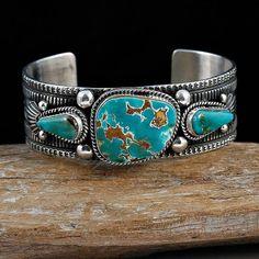 GUY HOSKIE Royston Turquoise Trio ROW  Bracelet  Sterling Silver Navajo