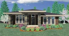 #149-1193 This wonderful prairie home is designed for an alley load garage. First built in Northwest Crossing in Bend Oregon this plan has an open floor plan with three generous bedrooms and a large covered front porch.