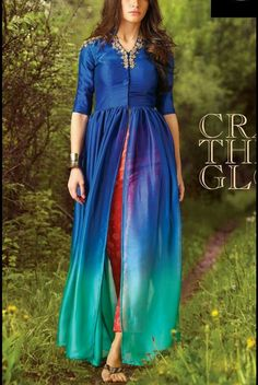 Pure Silk shaded kurti with red pant and beautiful embroidery.