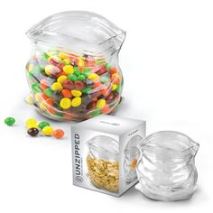 Clever hand blown glass candy container. Playful design for an everyday item we take for granted: the zipper bag.