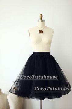 Black Tulle Skirt/Horse Hair Tulle Skirt/Women by CocoTutuhouse