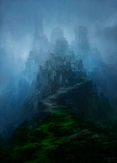 The Citadel of Dreams, a great castle that dwells half in the Grey Mists that border the shard of Rune (the Shard of Dreams).  (Concept Art by Andreas Rocha)