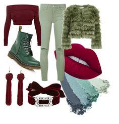 """Mint & Wine"" by srishty-naidu ❤ liked on Polyvore featuring Gucci, Lime Crime, Joe's Jeans, Alice + Olivia, Dr. Martens and Fallon"