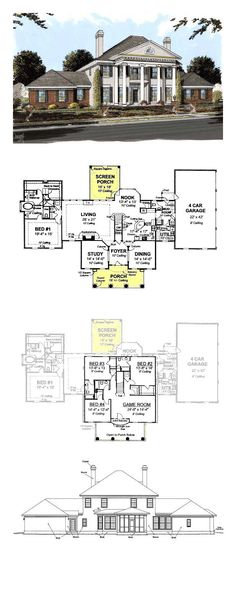 Plantation House Plan 68558 | Total Living Area: 4166 sq. ft., 4 bedrooms and 4.5 bathrooms. #plantationhome