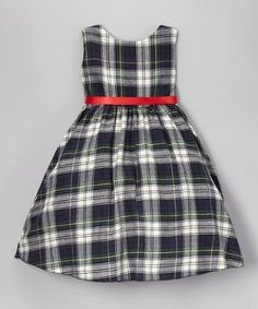White & Green Plaid A-Line Dress - Infant, Toddler & Girls $19.99 by Zulily