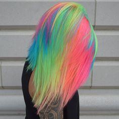 Stunningly Styled Unicorn Hair Color Ideas – My hair and beauty Pretty Hair Color, Beautiful Hair Color, Purple Hair, Ombre Hair, Turquoise Hair, Violet Hair, Unicorn Hair Color, Hair Dye Colors, Rainbow Hair Colors