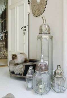 moroccan lanterns ~ styled in an assorted collection of shapes and sizes.