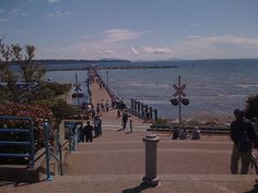 white rock pier by aprica, via Flickr #whiterock #whiterockpier #whiterockhomes #whiterockhillside #garymcgrattenrealtor Mc G, British Columbia, Vancouver, Sidewalk, Street View, Rock, Country, Live, Beach