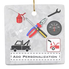 Shop Personalized Mechanic Ceramic Ornament created by trezher. Convience Store, Wedding Color Schemes, Wedding Colors, Oil Change, Create Your Own, Ceramics, Christmas Ornaments, Products, Ceramica