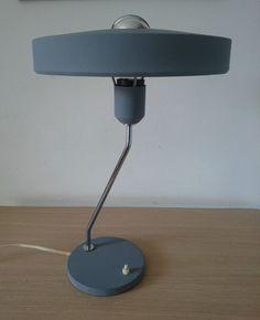 1950s Vintage Philips Grey Desk Lamp by LOUIS KALFF EAMES STILNOVO ARTELUCE