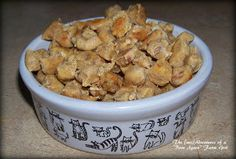 "Homemade cat treats w/tuna, pumpkin, & dried catnip - The (mis)Adventures of a ""Born Again"" Farm Girl. Pumpkin helps with hairballs."