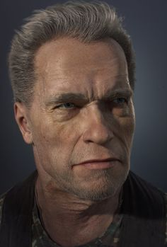 Arnold Schwarzenegger cg portrait, Gerard Kravchuk on ArtStation at https://www.artstation.com/artwork/8OywQ