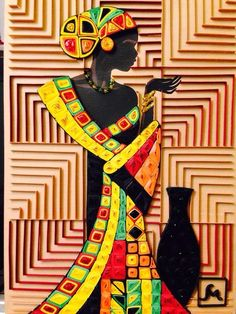 Madina's wall photos Arte Quilling, Paper Quilling Designs, Quilling Paper Craft, Quilling Cards, Canvas Art Projects, African Art Paintings, Cool Paper Crafts, African American Art, African Women