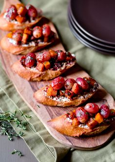 NYT Cooking: Roasted Grape and Butternut Squash Bruschetta | healthy recipe ideas @xhealthyrecipex |