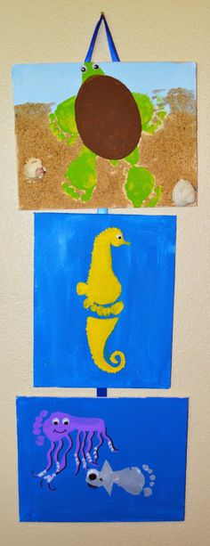 The Keeper of the Cheerios: Summer and Sea Hand and Footprint Craft. Sea turtle, sea horse, and shark! Ocean Crafts, Baby Crafts, Cute Crafts, Crafts To Do, Crafts For Kids, Arts And Crafts, Toddler Art, Toddler Crafts, Infant Crafts