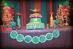 Princess Jasmine birthday party dessert table! See more party ideas at CatchMyParty.com!