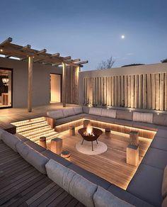 Backyard Seating, Backyard Patio Designs, Fire Pit Backyard, Backyard Landscaping, Backyard Pools, Garden Seating, Backyard Ideas, Stone Backyard, Desert Backyard