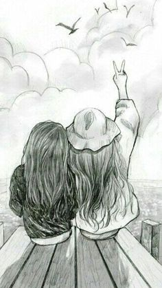 Best friend drawings that are easy to draw - yahoo image search Easy Pencil Drawings, Art Drawings Sketches Simple, Girl Drawing Sketches, Girly Drawings, Beautiful Drawings, Cute Drawings Of Girls, Pencil Sketch Drawing, Cool Sketches, Pencil Sketches Simple