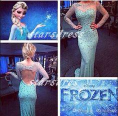 Sheer Neck Movies Frozen Dresses Light Sky Blue Scoop Floor-length Backless Mermaid Trumpet Long Sleeve Evening Dresses with Full Beaded