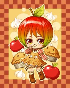 little apple pie girl Cute Anime Chibi, Kawaii Chibi, Kawaii Anime, Cute Food Drawings, Cute Kawaii Drawings, Arte Do Kawaii, Kawaii Art, African Art Paintings, Chibi Food