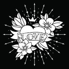 Vector Art : Chalk tattoo heart with ribbon and flowers