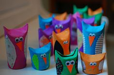 Make owls from bathroom tissue or paper towel tubes. Fold, paint and decorate!