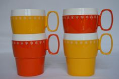 Set of 4 Plastic Stackable Mugs by KiwisVintage on Etsy, $14.00